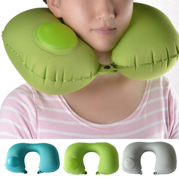 Protable Push Type Automatic Inflatable U-Shaped Pillow Neck Rest Air Cushion for Car Train Office Indoor Outdoor Supplies
