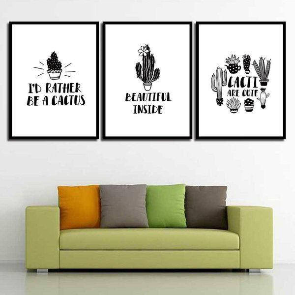 Poster Painting Nordic HD Minimalist Picture Fashion Black And White Cactus Wall Art Printed Canvas Living Room Kids Room Home Decoration