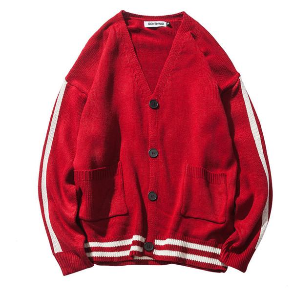 Bloque de color Abrigos de suéter a rayas Abrigo de punto de manga larga con cuello en V Hip Hop de los hombres Suéteres de manga larga de moda de otoño