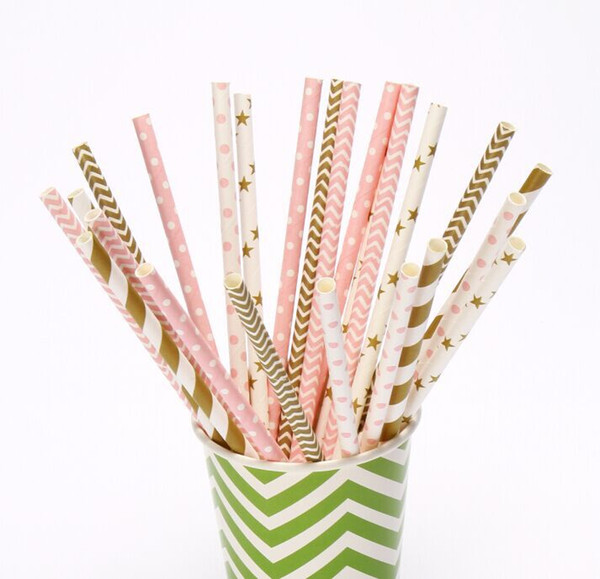 best selling (100 pieces lot) Pink Gold Paper Straws For Wedding Table Decor Cake Lollipop Sticks