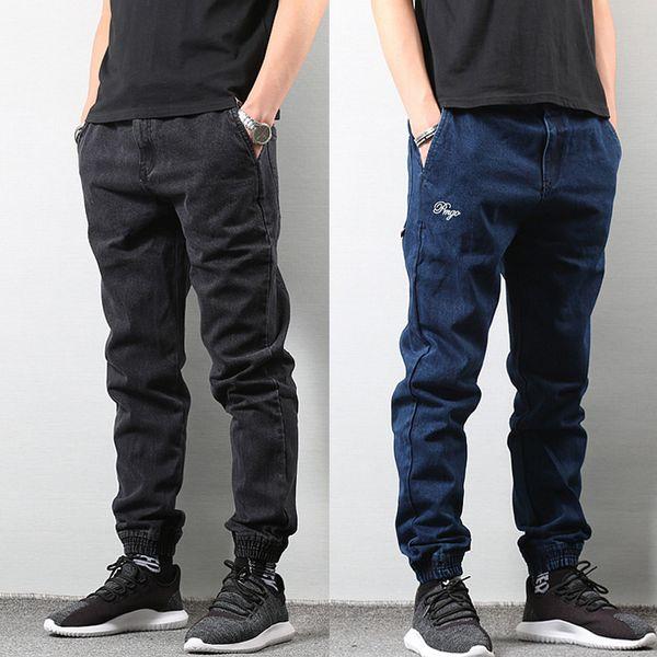 Compre Pantalones Vaqueros De Los Hombres De Moda De Estilo Japonés Jogger Jeans De Color Azul Negro Pantalones Punk Hip Hop Jeans Hombres Slim Cargo