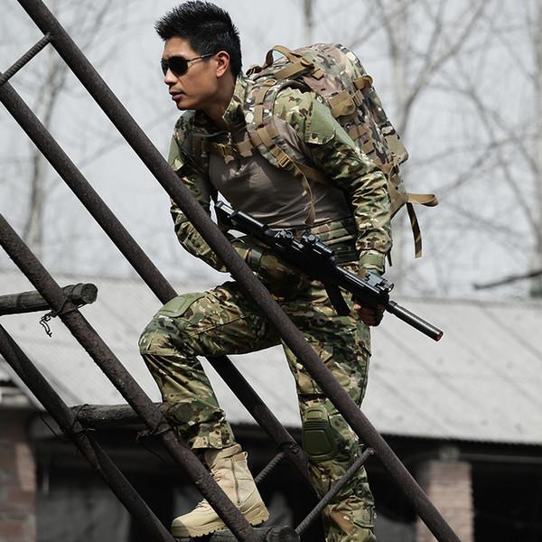 Tactical T Shirt + Pant Uniform Army Camouflage Suit Frog Suits Men CS Combat Sets + Knee Pad Elbow Pad Gear