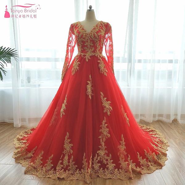 Rouge Avec Or Appliques Robes De Mariée 2018 À Manches Longues Islamique Robes De Mariée De Mariage À Lacets Libre Voile Musulman ZW051
