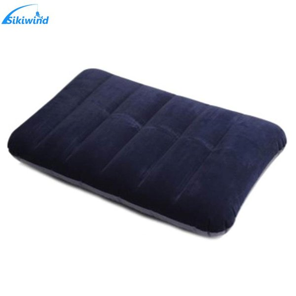 1Pcs Outdoor Travel Camping Portable Folding Air Inflatable Pillow One Sided Flocking Cushion for good break/Plane/Hotel/Travel