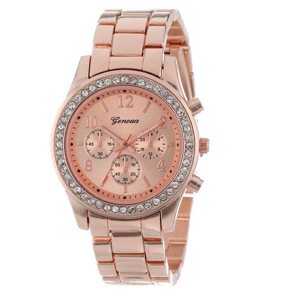 Luxury Rose Gold Women's Watches Faux Chronograph Quartz Plated Classic Round Ladies Women Crystals Watch Saat Dropshipping