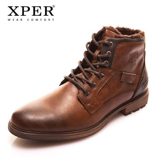 XPER Autumn Winter Fashion Men Boots Vintage Style Casual Men Shoes Lace-Up Warm Plush Waterproof Motorcycle Boots XHY12504BR/M