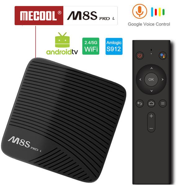 Google Voice Control Android TV Kutusu Mecool M8S Pro L S912 Octa Çekirdek 3 GB RAM Hızlı Youtube 4 K Akış Medya Oynatıcı Çalıştırmak