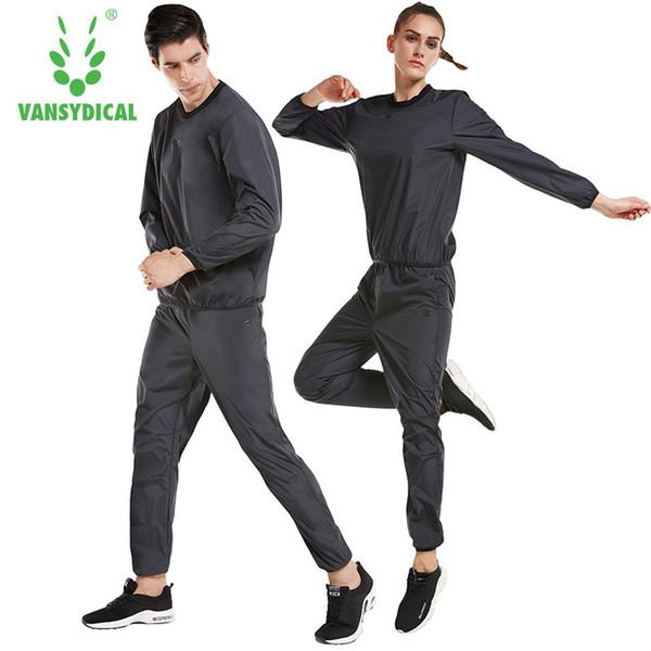 Vansydical Sweat Suit Mulheres Homens Conjuntos de Esportes Ternos de Corrida de Fitness Perder Peso Jaqueta Ginásio Sportswear Treino de Fitness Fatos