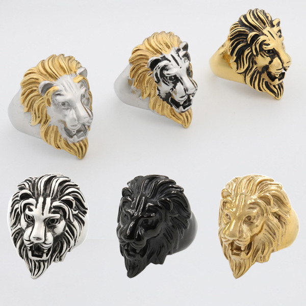 Explosive money, cast lion head ring, titanium steel, European and American antique stainless steel rings, men's jewelry.