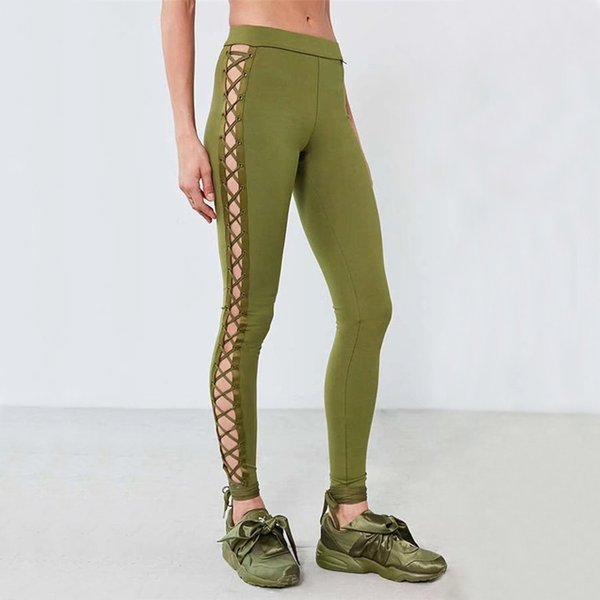 03999d7440ced0 Women Grommet Lace Up Side Unitard Legging Eyelet Lace-Up Side Leggings
