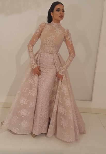 2019 High Neck Mermaid Prom Dresses With Detachable Train Blush Pink Full Lace Appliqued Illusion Bodice Long Sleeevs Formal Evening Gowns