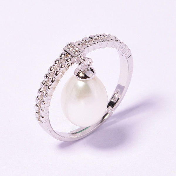 2018 100% natural freshwater pearl jewelry Ring water drop Pearl Wedding Rings 925 Sterling Silver jewelry For Women