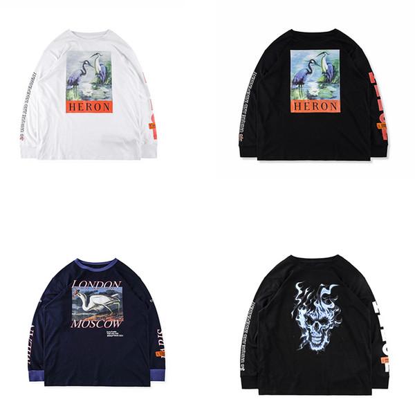 18ss Top Version 1: 1 Calidad HERON PRESTON CraneDevil Printed Women Men Camiseta Hiphop Long Sleeve Men Camiseta HERON PRESTON