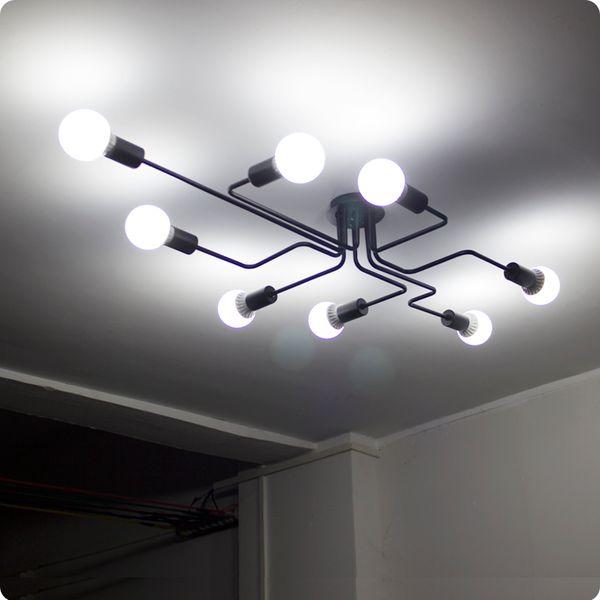 Clásico moderno negro vintage Retro industrial Hierro brazo luz de techo vestíbulo comedor restaurante LOFT lámpara de techo