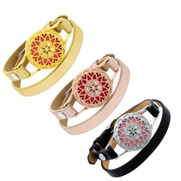 Bracelet en cuir de diffuseur de vis de 26mm argent / or / or rose en acier inoxydable bracelets d'aromatherapy bracelets de bracelets de brassard d'huile essentielle de diffuseur