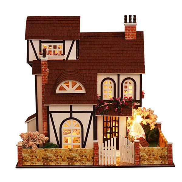 Maison de bricolage Cottage Ville Assemblé À La Main Maison Modèle Villa Assemblé Bâtiment Modèle Enfants Puzzle À La Main Puzzle Jouet Romance