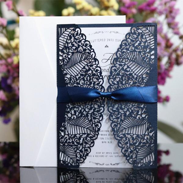 L'invito di taglio del laser del paese dell'invito della carta della farfalla del blu marino della marina militare avvolge la stampa su ordinazione libera fornitore del partito della nave