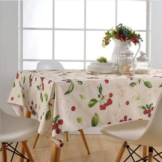 Wholesale 145x145cm Rectangular Woven Polyester Cherry Table Cloth Waterproof Seamless Table Cover Wrinkle Stain Resistant for Banquet Party