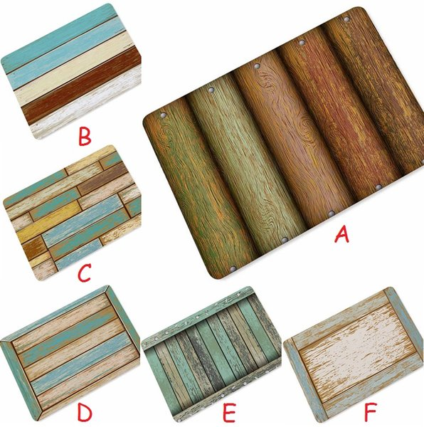 Wholesale Retro Wood Strip Entrance Floor Mats Sofa Carpets for Living Room Bathroom Bath Mats Kitchen Area Rugs Bedside Foot Pad Tapete
