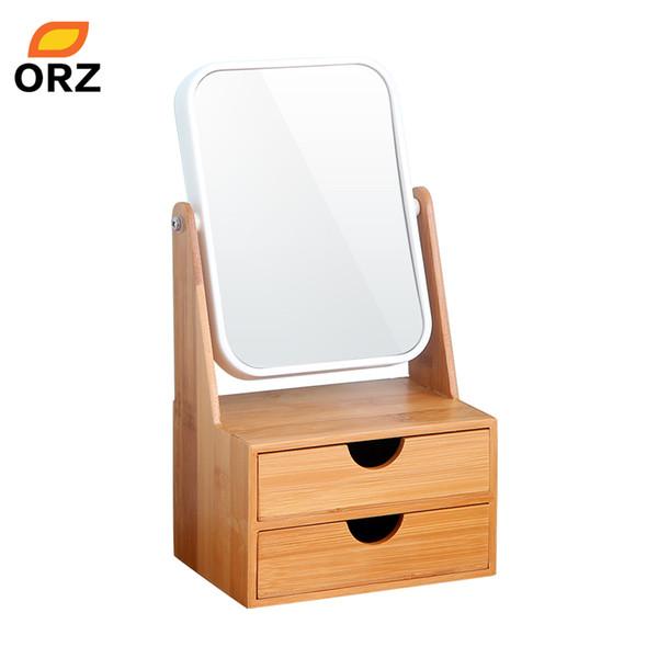 ORZ Bamboo Box With Mirror Drawer Cosmetici per trucco Organizzatore Orecchini Jewelry Storage Box Desktop Organizer specchio per il trucco