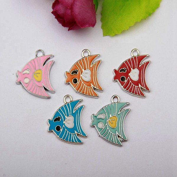 Hot 50pcs Zinc Alloy Drop Glaze Multicolor Tropical Fish Charms For Making Bracelets&Necklace Fitting Accessories Women&Men Jewelry Gift