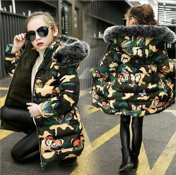 best selling Vieeoease Big Girls Coat Christmas Kids Clothing 2018 Winter Fashion Long Sleeve Print Warm Jacket Down Coat EE-1250