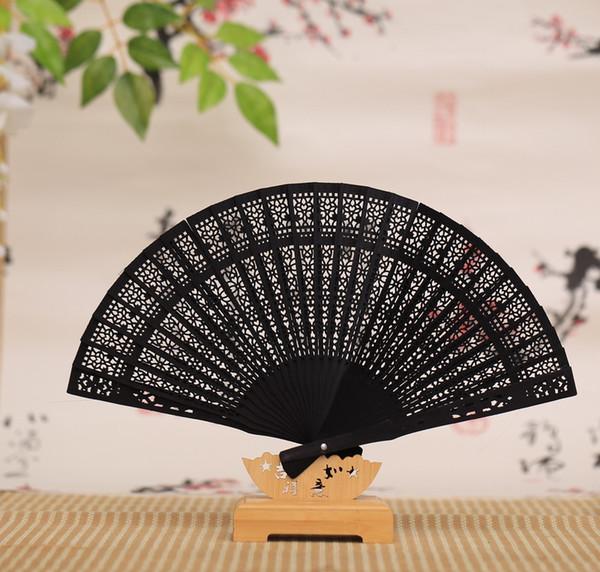 Fans de madera de la fragancia regalo de la fiesta del favor de la boda abanico plegable chino de la mano del sándalo japonés