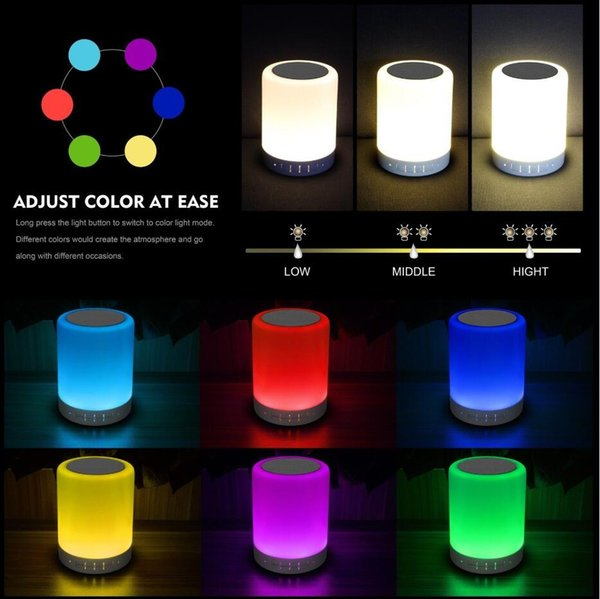 LED Night Light Bluetooth Speakers Portable Wireless Music Speaker Smart Touch Control Colorful Bedside Table Lamp support TF Card with box