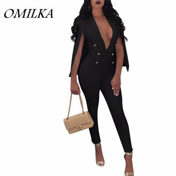 OMILKA 2017 Autumn Winter Women Long Sleeve V Neck Button Bodycon Cloak Cape Rompers and Jumpsuits Office OL Club Party Overalls