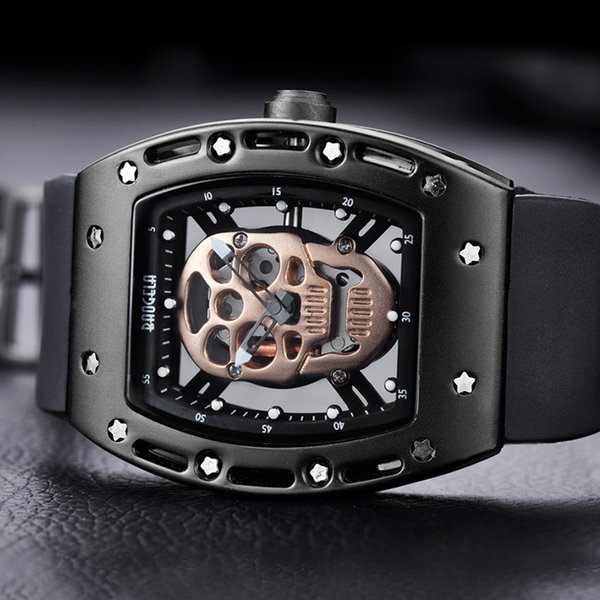 Men's Stylish Hollow out Skull Quartz Wristwatch Luxury Sport watch for Men Military Silicone Band Rectangle Dial Men's watches