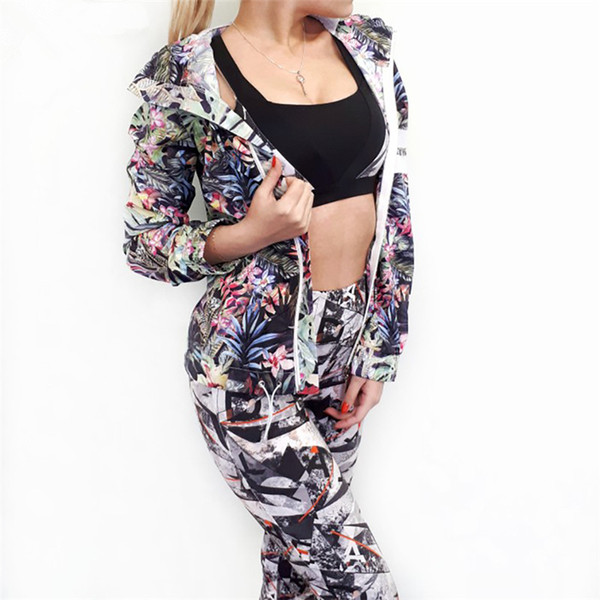 Macheda régulier imprimé fleurs femmes Manteaux capuche basique à manches longues Zipper Blouson Casual Veste courte manteau d'automne Streetwear