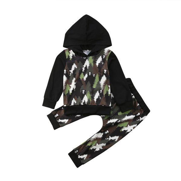 Baby Boy Girl Forest Panda Conjunto de ropa de manga larga de dibujos animados floral Tops con capucha Sudadera con capucha + Pantalones largos Trajes casuales