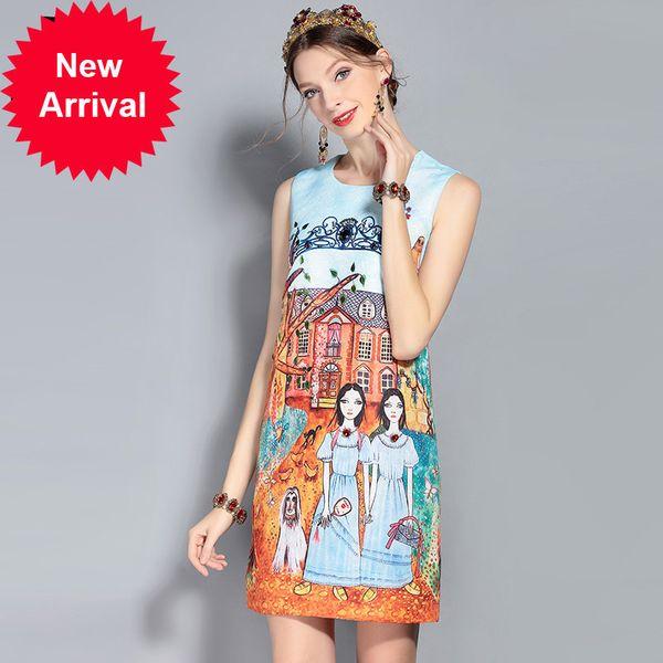 2018 New Fashion Designer Runway Summer Dress Women's Sleeveless Tank Pattern Print Beading Vintage Short Dress