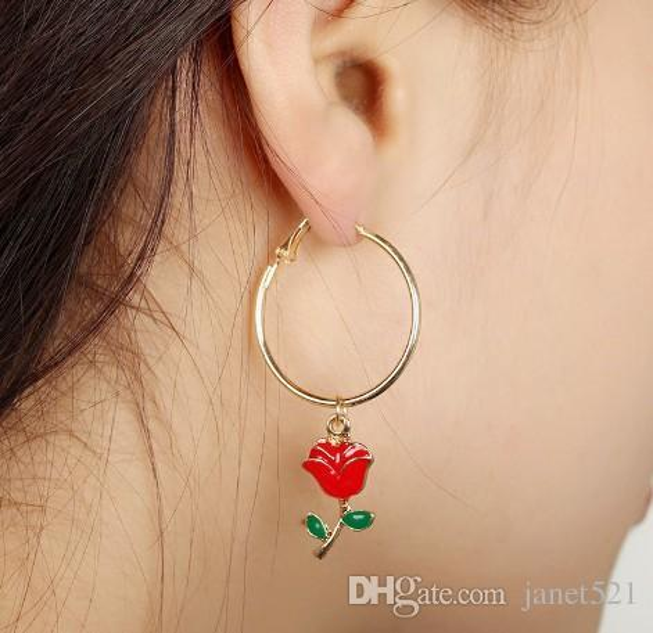Rose Hoop Earrings Girls Womens Enamel Red Rose Green Leaf Metal Gold Silver Plated Charm Chandelier Earrings Dangle Stud Earrings