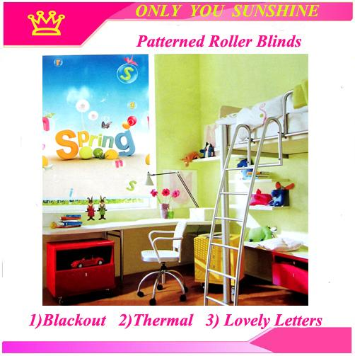 Free Shipping! THERMAL WINDOW LOVELY LETTERS PATTERNED ROLLER BLIND SHADE BLOCK SUN 200CM DROP---MADE TO MEASURE