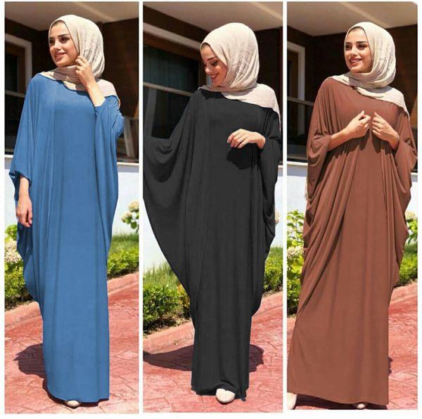 top popular Wholesale Muslim Women Bat Sleeve Kaftan Dress Plus Size Islamic Women Jilbab Dress Women's Maxi Dress 2021