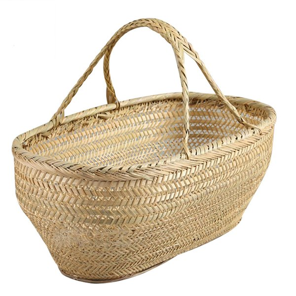 Bamboo Baskets For Kitchen Picnic Fruit Food Flower Vegetable Basket Shopping Container Laundry Storage Of Things Rattan Weaving