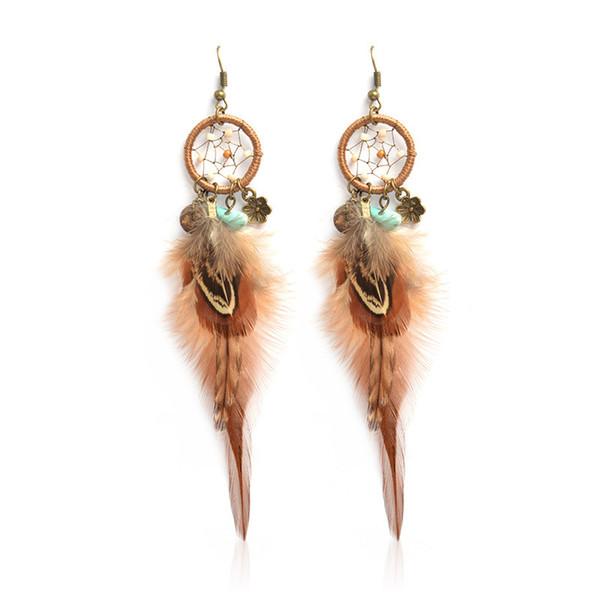 a1d523983d1d8 2019 Vintage Dream Net Earrings Feather Pendant Ladies Fashion Jewelry,  Bohemian Earrings, Wild Casual Style Ear Hooks For Wholesale From ...