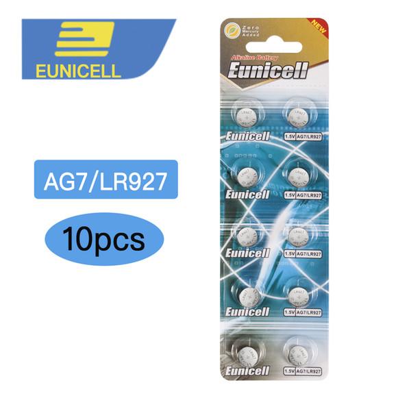 batteria a bottone 10pcs AG7 LR927 LR57 SR927W Batteria 399 GR927 395A 1.55V cellule del tasto di moneta per Watch Giocattoli Telecomandi