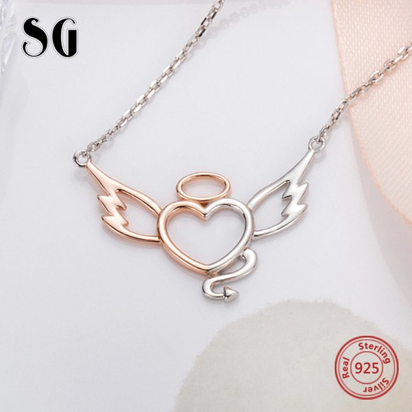 925 Sterling Silver Chain Fine Jewelry silver colour Angel wings and Demon Tail love Necklaces Pendants for jewelry making Y18102910