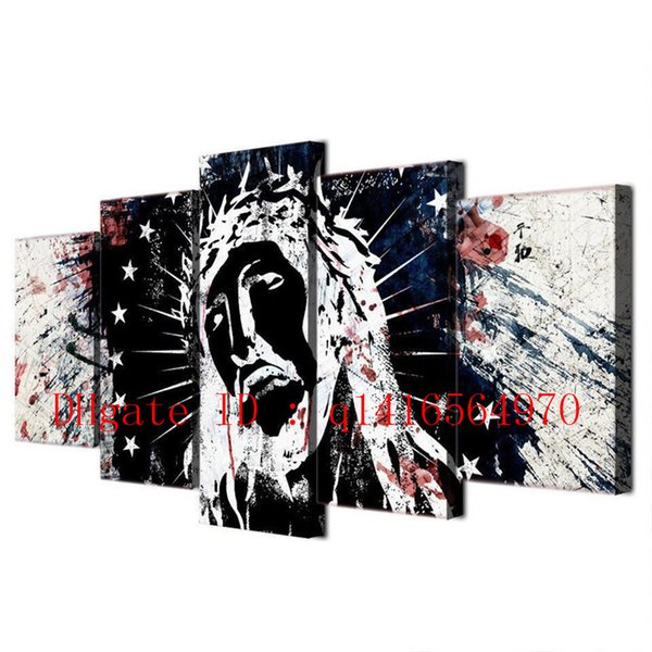 Jesus Christ,5 Pieces Canvas Prints Wall Art Oil Painting Home Decor /(Unframed/Framed)