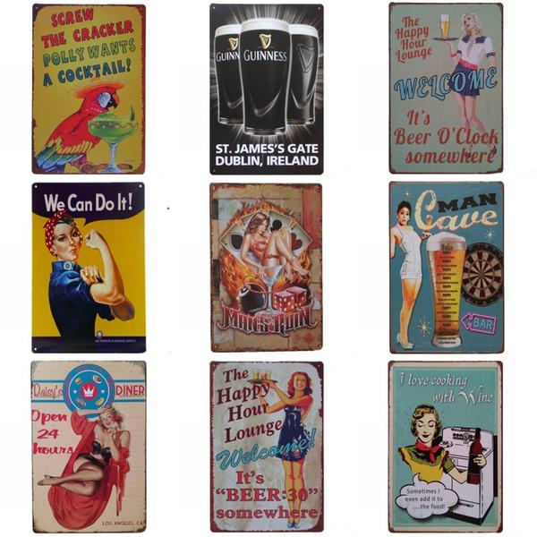 Jolie Dame À Boire Thème Fer Peinture Pour Café Bar Accrocher À La Mode Ambiance Boîtes Signe Style Vintage Boîtes Affiche Beaucoup De Styles 20 * 30 cm ZZ
