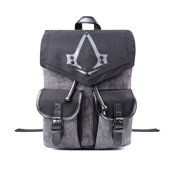Assassins Creed Syndicate Logo Sac Flap Pocket unisexe gris Sac souple Mode poignée Rucksack Adolescent Sac d'école