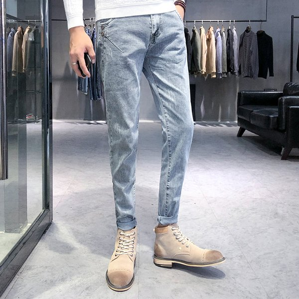 2018 Latest Style Men Jeans Pants Vintage Designs Slim Fit Casual Pants Men Solid Cotton Stretch Skinny Jeans Trousers Male