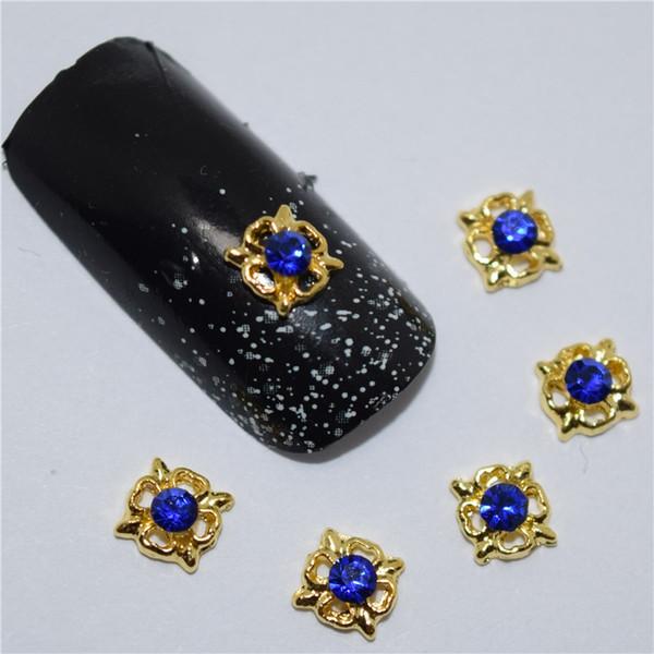 10pcs 3d nail jewelry decoration nails art glier rhinestone for manicure Blue gem design nail accessories tools #170