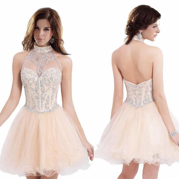 Envío gratuito con espalda abierta Halter Neck Light Orange Homecoming Vestidos Short de organza Short Prom Dresses Modest Nueva llegada Crystal Cute Gowns
