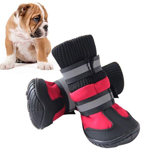Vendita calda scarpe per cani a vita alta stivali portatili in cotone stivali impermeabili antiscivolo suola in gomma scarpe per cani per cani di grossa taglia 4 pz / set