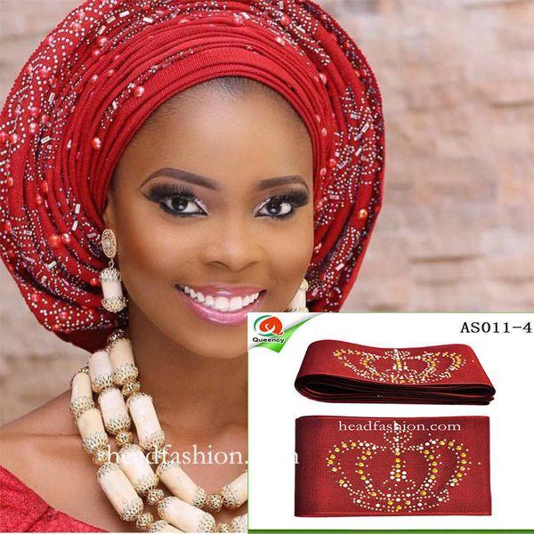 AS011Unique Aso oke Multi-couleur avec des pierres beauté africaine headtie gele 8.6m un morceau / pack pour une femme.Livraison gratuite.