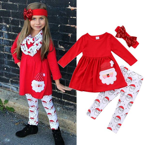 Christmas Baby Xmas outfits children girls Dress top+Santa Claus print pants with headband 3pcs/set Autumn Boutique kids Clothing Sets C4765