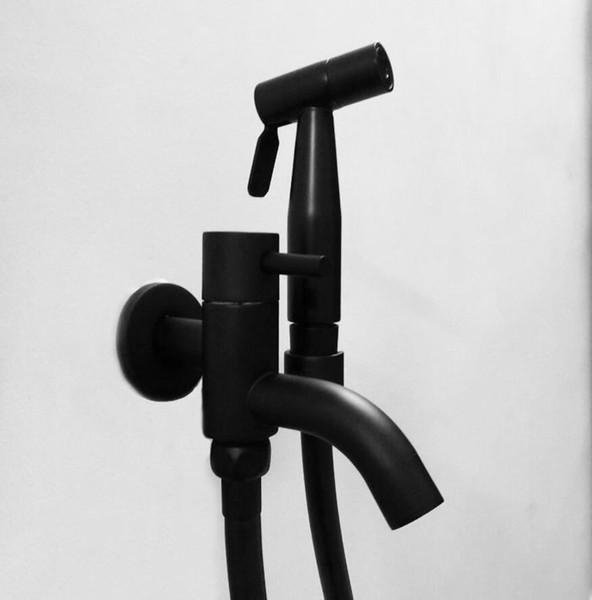 black color Solid brass Handheld Bidet ,Toilet Portable Bidet Shower Set With bidet sprayer and 1.5m black pvc shower Hose BD632